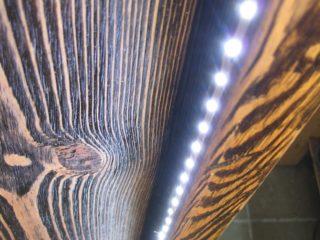 светодиодная лента в балке 038 - сложный деревянный профиль